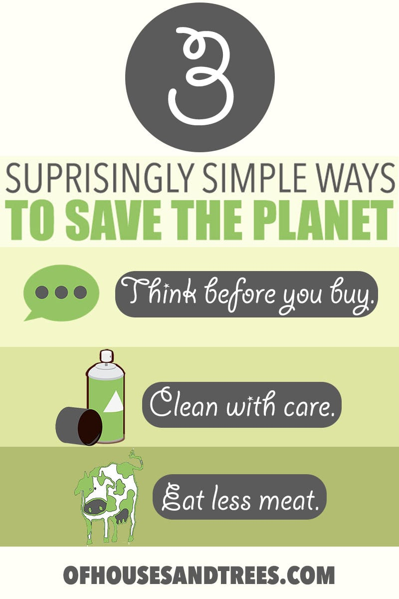 Ways to Help the Environment   Looking for simple ways to help the environment on a day to day basis? Think before you buy, clean with care and eat less meat. That's it!