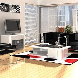 An art deco home decor style living room.