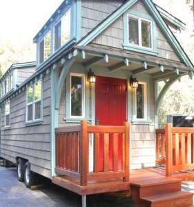 Tiny house living made mobile by a set of wheels.