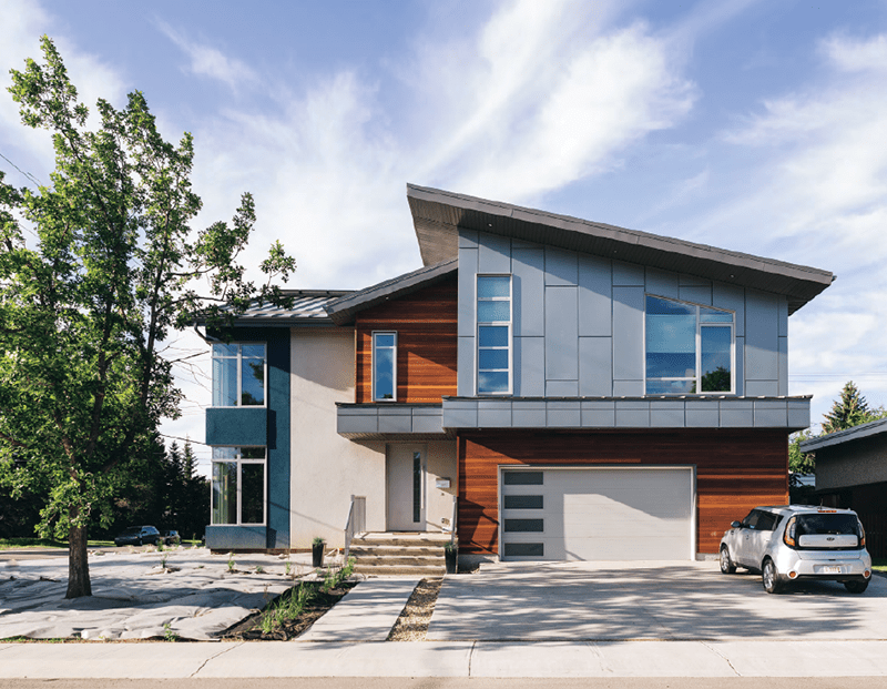 Canadian sustainable building De Waal Net Zero House in Edmonton, Alberta.