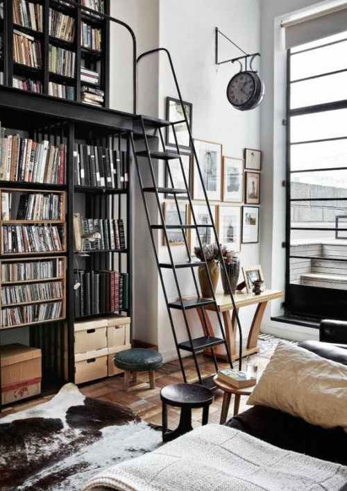 Eco-friendly lighting isn't just for modern spaces - it would also fit well in this vintage-y industrial style library.