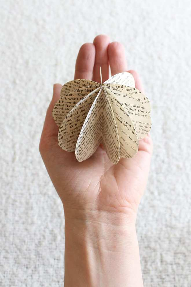 If you're looking for eco-friendly DIY projects, try this simple paper orb made from old book pages. Sure, cutting up an old book feels slightly blasphemous. But the end result is both lovely and green!