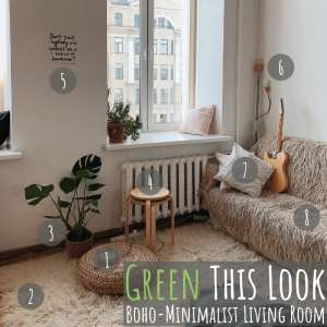 Green This Look: Boho-Minimalist Living Room
