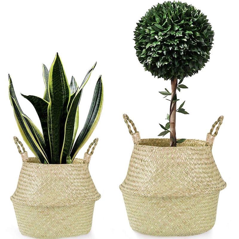 """Welcome to """"Green This Look,"""" where I show you how to create an eco-friendly living room and offer some bohemian decor ideas - that are great for any space! Like these handwoven seagrass plant baskets."""