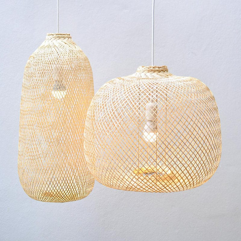 Eco-friendly kitchen lighting comes in many shapes in sizes. Just like this bamboo light fixture that adjusts between a sphere and an oval!
