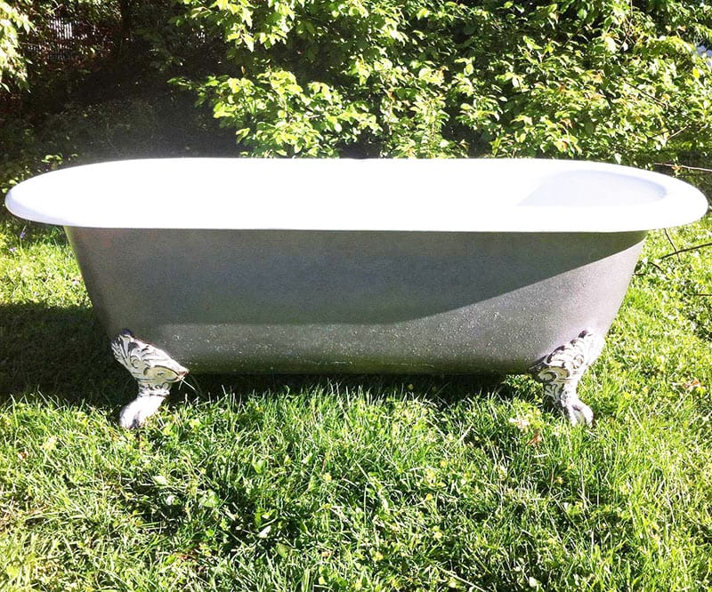 "Looking to create an eco-friendly bathroom? It's the perfect opportunity to green everything - including your tub, sink, faucet, vanity and toilet! An antique clawfoot tub is one way to put the ""reuse"" in ""reduce, reuse, recycle!"""