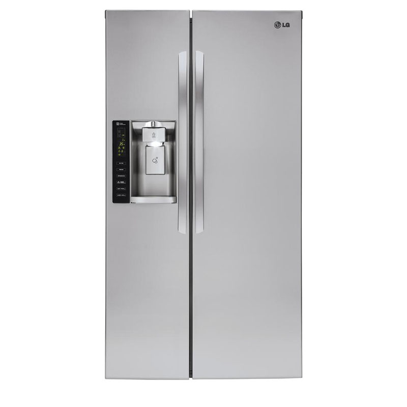 "What's an eco-conscious kitchen without an energy efficient fridge? This 36"" side-by-side refrigerator by LG uses 520 kwH/yr."