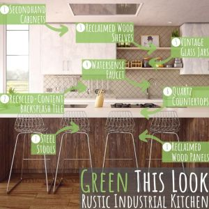 "Welcome to the next entry in my ""Green This Look"" series, featuring a rustic industrial style kitchen filled with très cool and earth-friendly finishes!"