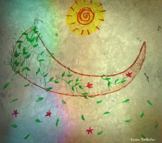 O Chifre, o Sol, a Natureza e suas fases - são símbolos do Deus Tríplice. Desenho feito por Rosea Bellator.