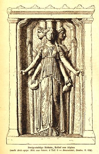 Imagem de Hécate de três cabeças de Aegina (em Roscher's Ausführliches Lexikon der Griechischen und Römischen Mythologie, 1890)
