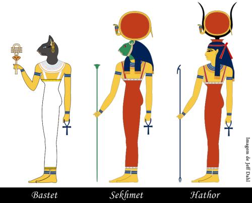 pequenos rituais das deusas Bastet  sekhmet e hathor imagem de jeff dahl - pequenos rituais , pequenos rituais