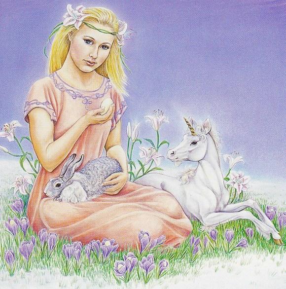 A Deusa Eostre. Ilustração de Hrana Janto.
