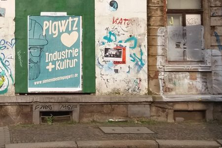 Plagwitz. Cartel de Industrie+Kultur=encanto