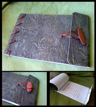 Medieval_Textbook_Synthetic leather over paper produced this nice, flexible and yet resistant cover, tied by a variation of a japanese binding