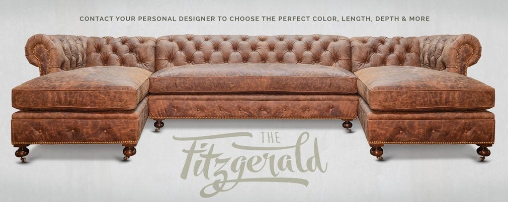 Fitzgerald Vintage Brown Saddle Leather Sectional