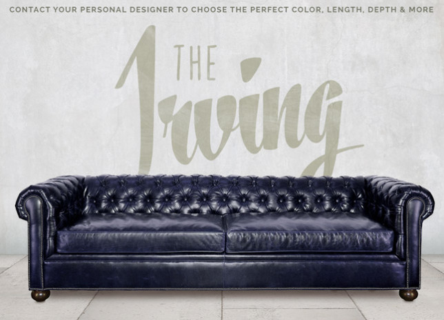Irving Classic Navy Blue Leather Chesterfield