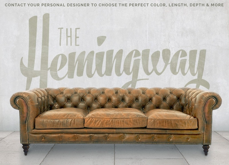 Hemingway Custom Chesterfield Sofa in Vintage Leather