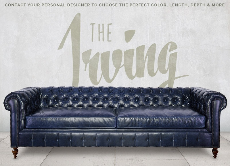 Irving Traditional Navy Blue Leather Chesterfield Sofa