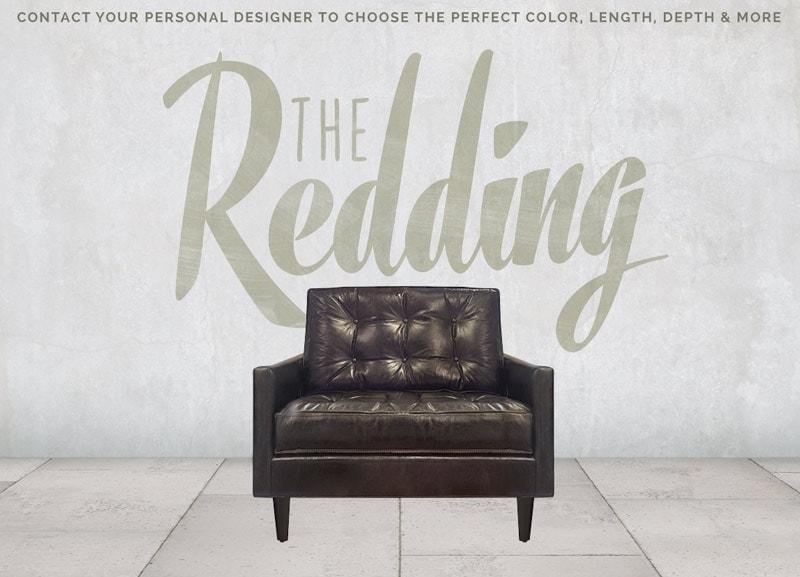 Redding Black Leather Mid-Century Chair