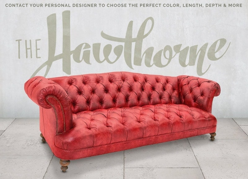 Hawthorne Red Leather Tufted British Chesterfield Pub Sofa