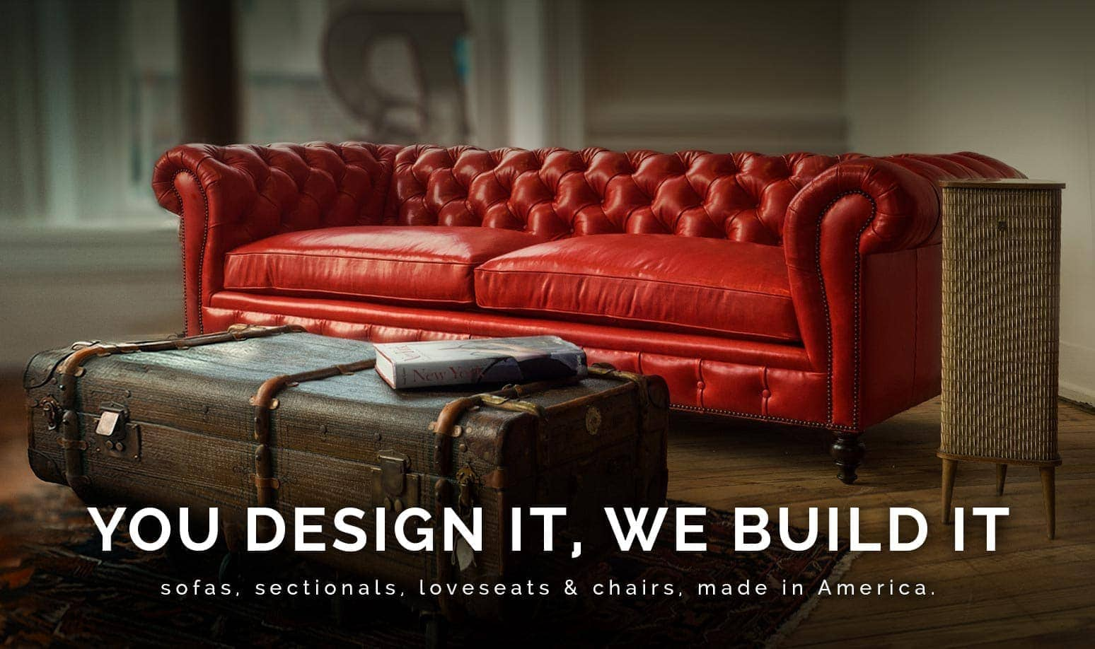 American Made Leather Chesterfield Sofa