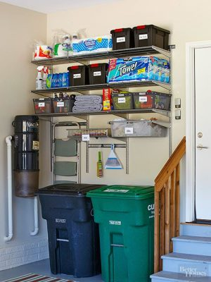 Add additional shelving to your garage walls to maximize vertical space.