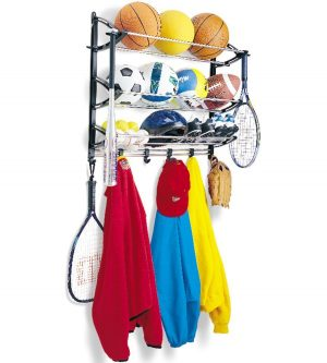 Use a wall mounted sports rack to store sport and recreational equipment. Genius!