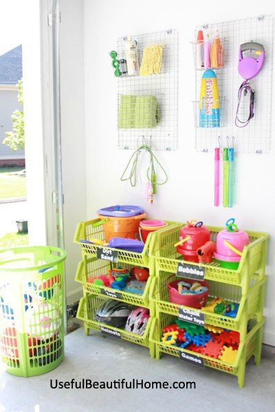 Use stackable garage bins to store toys and other items.