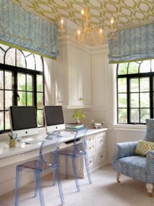 Use colorful acrylic chairs to add a modern chic flair to your office space. I love this!