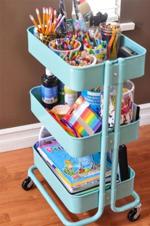 Create a homework station for your kids using a IKEA rolling cart. How neat is this?