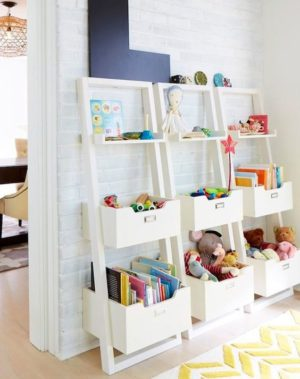 Use A Bookcase Shelf Ladder Along Your Kids; Room Wall To Store Toys And  Other