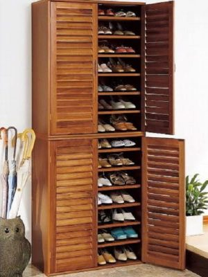 Turn a cabinet into a shoe closet. How neat is this?