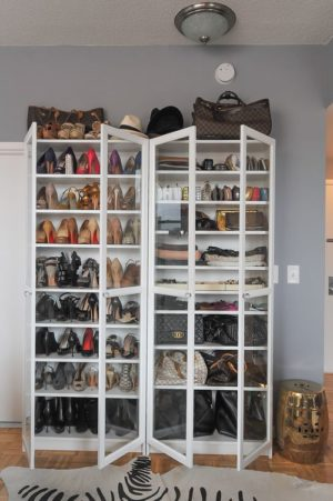 I love the idea of using an IKEA bookshelf and turning it into a shoe organizer.