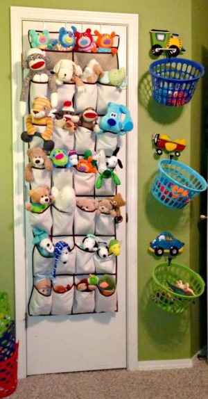 Use a simple shoe organizer to store your kids playthings.
