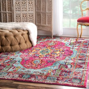 This distressed bohemian themed area rug is gorgeous! Wouldn't you agree?