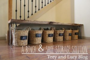 Use basket with your family names on each to store shoes neatly by the front door.