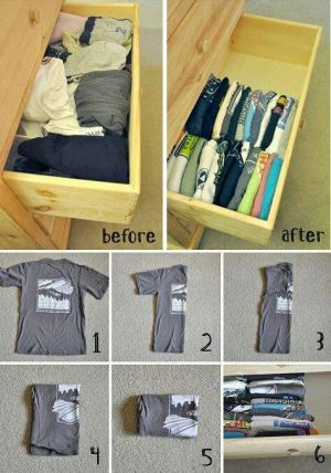 Here's how to fold your t-shirts to save a ton of drawer space. Pin this to your followers! They will love this idea.