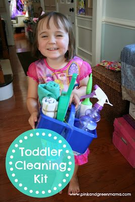 Make a kid-friendy cleaning kit for your toddler so that they will special and will want to help you clean the house. Love this idea!