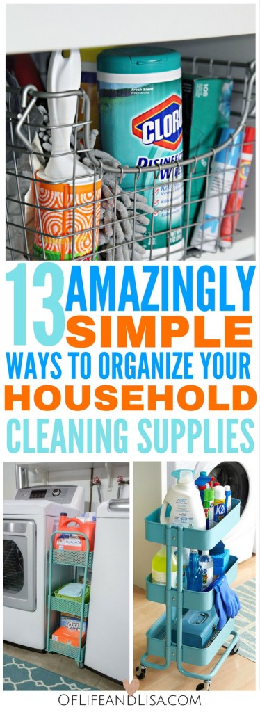 Here's 13 easy and extremely nifty ways to organize your household cleaning supplies and products.