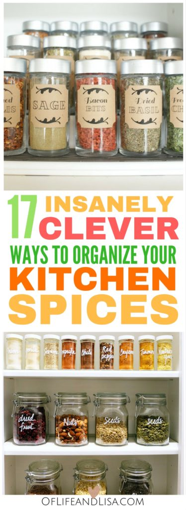 This post will show you how to organize your kitchen spices in no time! Come get inspired by these genius spice storage ideas!