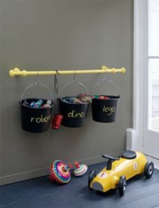 Spray paint buckets with chalkboard paint to store and organize toys. Brilliant! Repin if you agree!