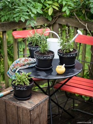 Use chalkboard paint to organize your flower and herb pots. Repin for later!