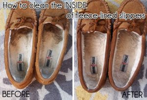 Clean the inside of your fleece lined shoes using Dawn dish soap. Repin!