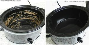 Clean your crock pot easily: Fill with water and a cup of vinegar. Add a few spoons of baking soda. Let sit for a few minutes or overnight. RInse out mixture and voila!