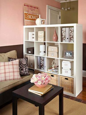 Use a cube organizer in a tiny living room that doubles as a room divider and storage for your books and other trinkets.