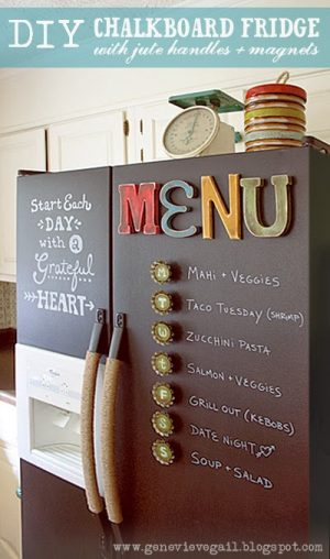 Spray paint your fridge with chalkboard paint! I love this! Repin if you want to try this one day.