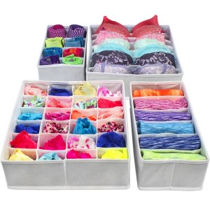 Use drawer organizers to store your undergarments to save space. Repin!
