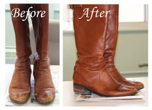 After cleaning your leather boots, use a little bit or hair conditioner to shine them. Repin!
