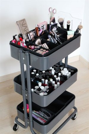 Use a mobile cart to store and organize your makeup. This can be easily stored in a closet when not in use.