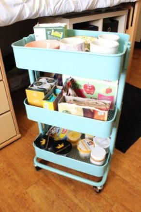 Use a mobile cart to store your dorm essentials. Easily roll under bed or into a closet when not in use. Repin!